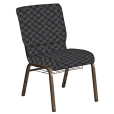 Embroidered 18.5''W Church Chair in Cirque Black Fabric with Book Rack - Gold Vein Frame