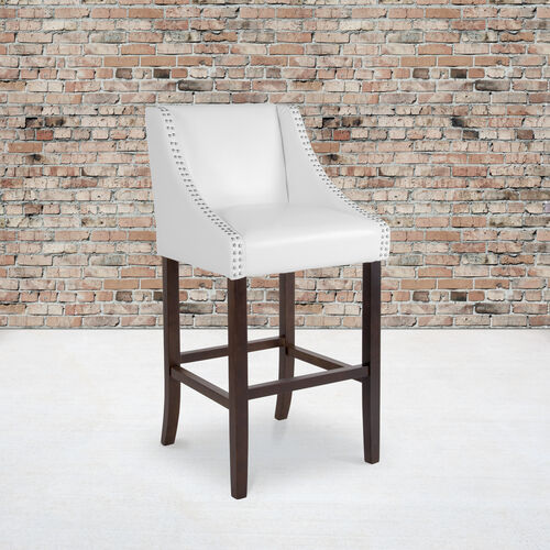 """Carmel Series 30"""" High Transitional Walnut Barstool with Accent Nail Trim in White LeatherSoft"""