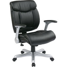 Work Smart Executive Eco Leather Chair with Padded Arms and Silver Coated Base - Black