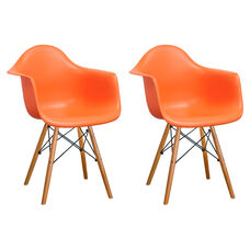 Paris Tower Arm Chair with Wood Legs and Orange Seat - Set of 2
