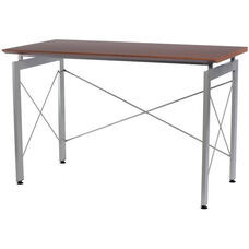 Techni Mobili Stylish Desk with Powder Coated Steel Legs - Mahogany