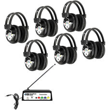 Black Deluxe Bluetooth Enabled Wireless Headphone Listening Center with Leatherette Ear Cushions and Multi-Frequency Transmitter - Set of 6 Headphones