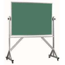 Reversible Free Standing Green Porcelain Chalkboard with Aluminum Frame