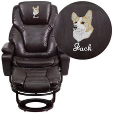 Embroidered Contemporary Multi-Position Recliner and Ottoman with Swivel Mahogany Wood Base in Brown LeatherSoft