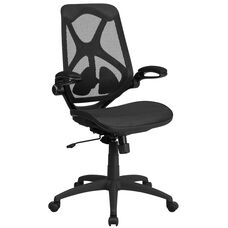 High Back Transparent Black Mesh Executive Swivel Chair with Adjustable Lumbar, 2-Paddle Control and Flip-Up Arms