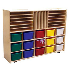 Multi-Shaped Baltic Birch Plywood Storage Unit with 15 Assorted Color Trays - Assembled with Casters - 46.75