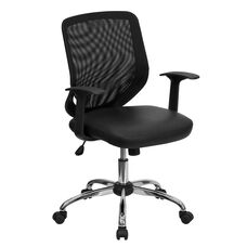 Mid-Back Black Mesh Tapered Back Swivel Task Office Chair with LeatherSoft Seat, Chrome Base and T-Arms