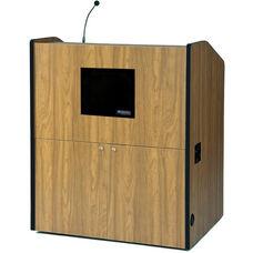 Multimedia Wired 150 Watt Sound Smart Podium - Medium Oak Finish - 48.5