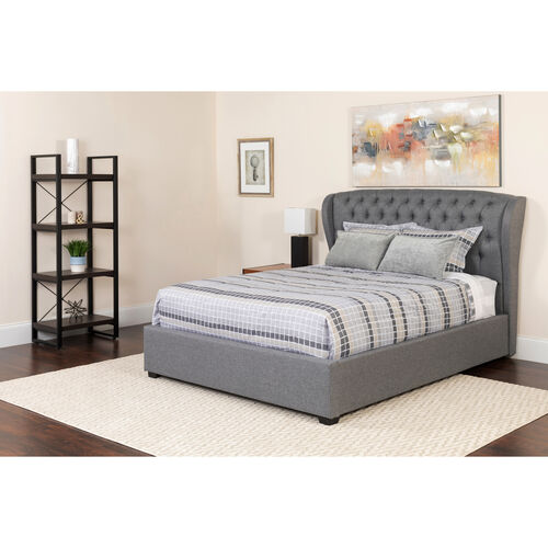 Our Barletta Tufted Upholstered King Size Platform Bed in Light Gray Fabric with Pocket Spring Mattress is on sale now.