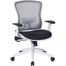 Space White Breathable Mesh Back and Padded Mesh Seat Managers Office Chair with Adjustable Flip Arms - Black