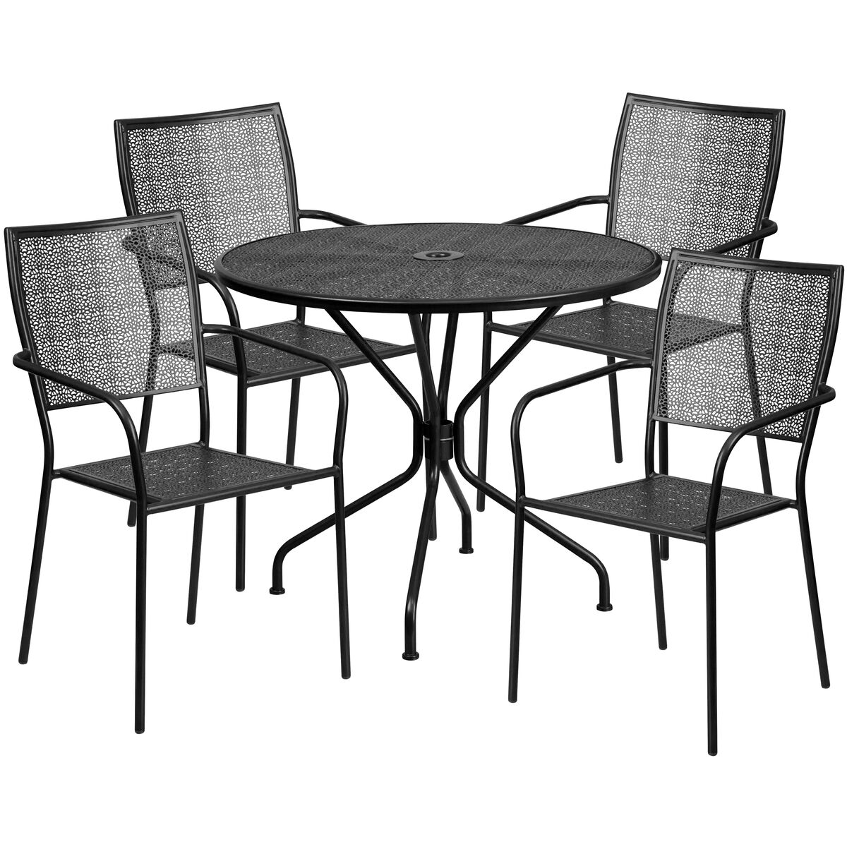 Flash furniture round black indoor outdoor steel for Furniture 35