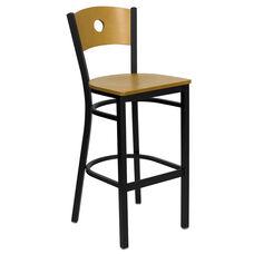 Black Circle Back Metal Restaurant Barstool with Natural Wood Back & Seat
