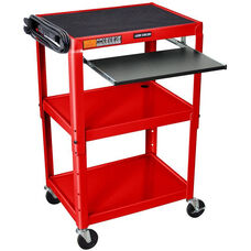 Adjustable Height 3 Shelf Steel A/V Cart with Pullout Tray - Red - 24