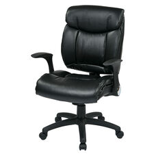Work Smart Oversized Faux Leather Managers Chair with Flip Up Arms - Black