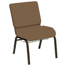 HERCULES Series 21''W Church Chair in E-Z Wallaby Taupe Vinyl with Book Rack - Gold Vein Frame