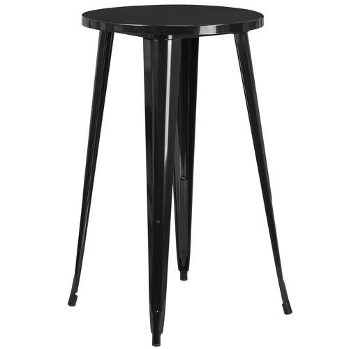 "Commercial Grade 24"" Round Metal Indoor-Outdoor Bar Height Table"