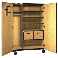 Denali 1000 Series Mobile Teacher Storage with Doors, 3 Adjustable Shelves, and 2 File Drawers