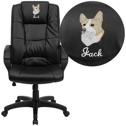 Our Embroidered High Back Black LeatherSoft Executive Swivel Office Chair with Arms is on sale now.