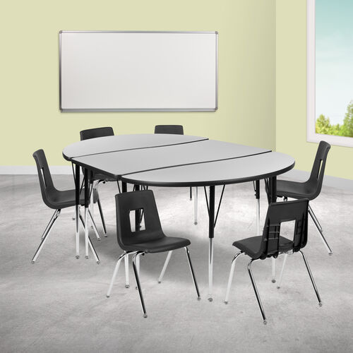 """76"""" Oval Wave Collaborative Laminate Activity Table Set with 18"""" Student Stack Chairs, Grey/Black"""