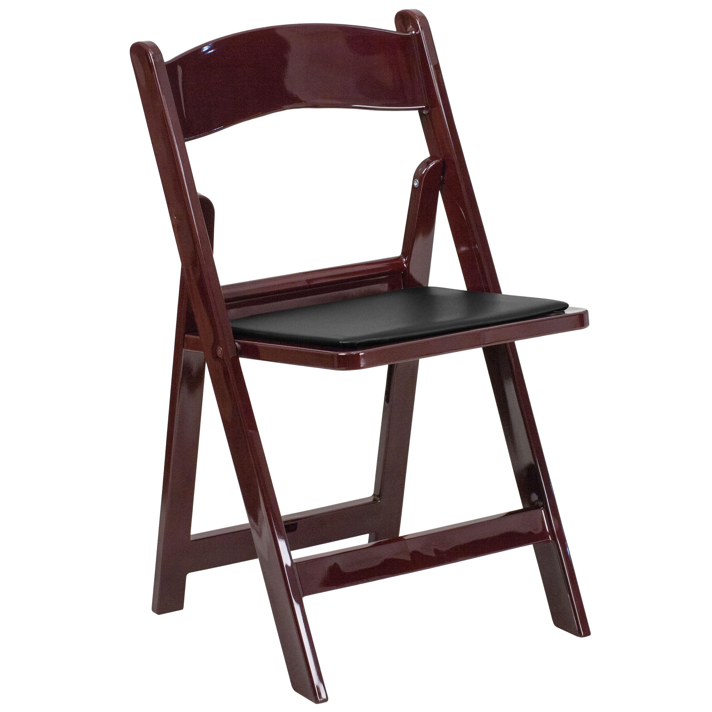 Capacity Red Mahogany Resin Folding Chair With Black Vinyl Padded ...