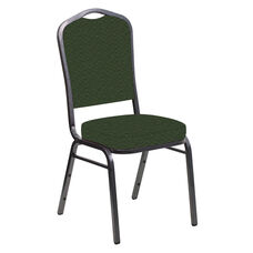 Embroidered Crown Back Banquet Chair in Fiji Emerald Fabric - Silver Vein Frame