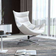 Creamy White LeatherSoft Swivel Cocoon Chair