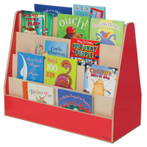 Strawberry Red Double Sided Rolling Book Display with Eight Shelves and Heavy Duty Casters - Assembled - 34