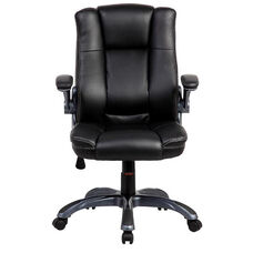 Techni Mobili Medium Back Manager Chair with Flip-up Arms - Black