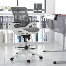 Mid-Back Transparent Gray Mesh Drafting Chair with White Frame and Flip-Up Arms