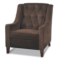 Ave Six Curves Tufted Velvet Upholstered Arm Chair - Chocolate