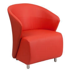 Red Leather Curved Barrel Back Lounge Chair
