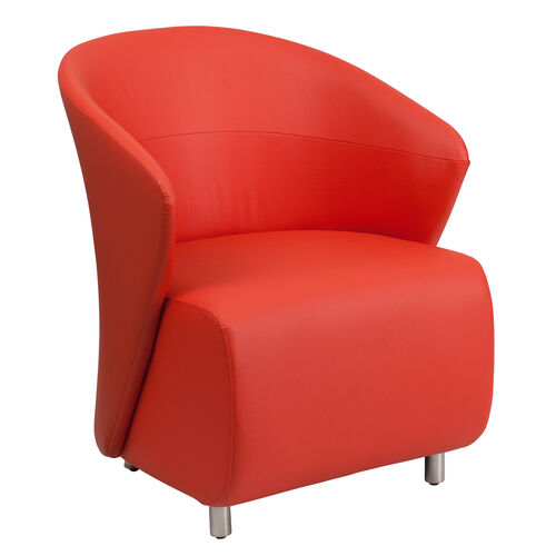 Our Red Leather Barrel Back Lounge Chair is on sale now.