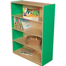 Wooden 4 Fixed Shelf Bookcase with Plywood Back - Green Apple - 36