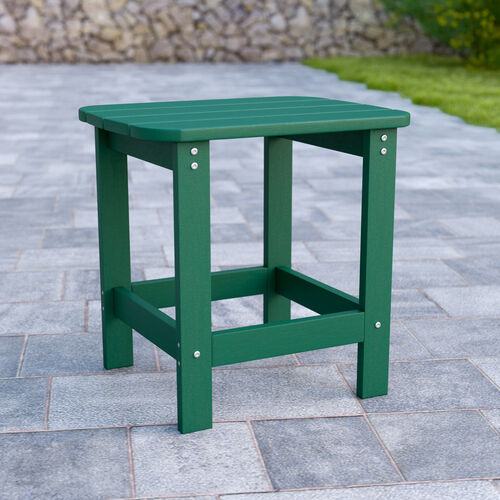 Charlestown All-Weather Poly Resin Wood Adirondack Side Table in Green