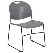 HERCULES Series 880 lb. Capacity Gray Ultra Compact Stack Chair with Black Frame