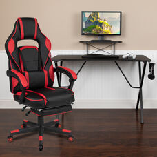 BlackArc Black Gaming Desk with Cup Holder/Headphone Hook/Monitor Stand & Red Reclining Back/Arms Gaming Chair with Footrest