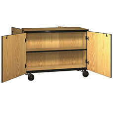 Denali 1000 Series Mobile Double Faced Low Storage Cabinet w/ Doors & 1 Adjustable Per Side