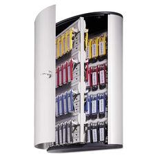 Durable® Locking Key Cabinet - 72-Key - Brushed Aluminum - 11 3/4 x 4 5/8 x 15 3/4