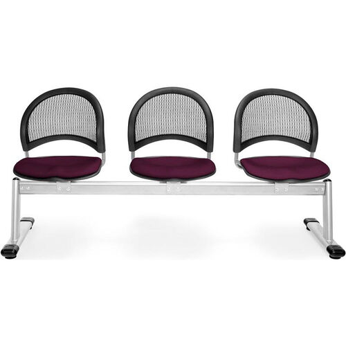 Our Moon 3-Beam Seating with 3 Fabric Seats - Burgundy is on sale now.