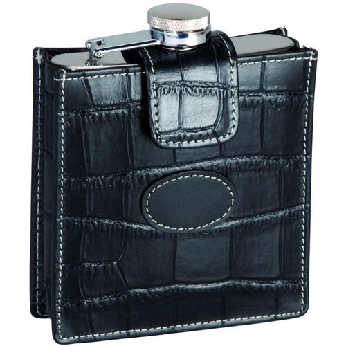 Our 5 oz Stainless Steel Flask with Croco Pattern Case - Top Grain Nappa Leather - Black is on sale now.
