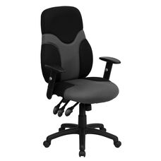 High Back Ergonomic Black and Gray Mesh Swivel Task Chair with Adjustable Arms