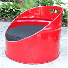 Red Loft Steel Drum Gaming Chair with Black Accents