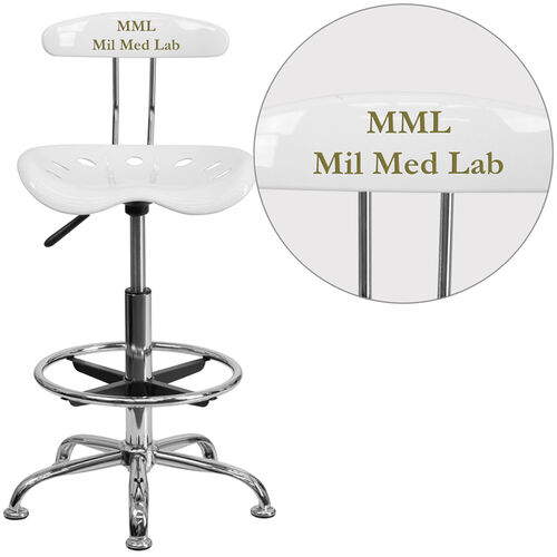 Our Personalized Vibrant White and Chrome Drafting Stool with Tractor Seat is on sale now.