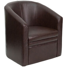 Brown LeatherSoft Barrel-Shaped Guest Chair