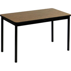 High Pressure Laminate Rectangular Lab Table with Black Base and T-Mold - Medium Oak Top - 36