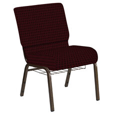 Embroidered 21''W Church Chair in Jewel Garnet Fabric with Book Rack - Gold Vein Frame