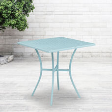 "Commercial Grade 28"" Square Sky Blue Indoor-Outdoor Steel Patio Table"