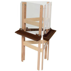 3-Sided Adjustable Art Easel with Acrylic Board and Brown Trays - 24