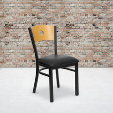 Black Circle Back Metal Restaurant Chair with Natural Wood Back & Black Vinyl Seat