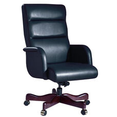 Manhattan Series High Back Executive Swivel with Closed Arm Wood Base